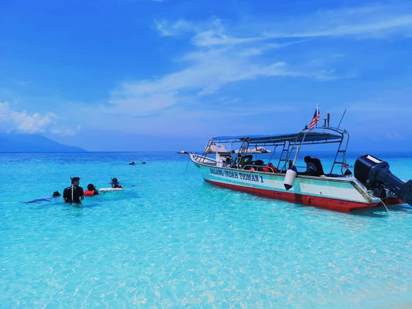 Beautiful And Clear Blue Sea Water At Tioman Island