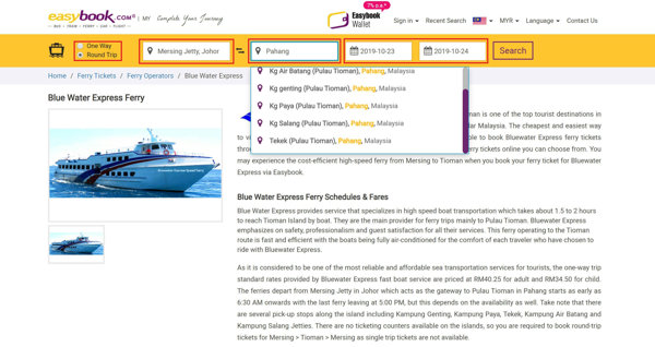Buy Bluewater Express Ticket To Tioman Island Online Via Easybook - 1