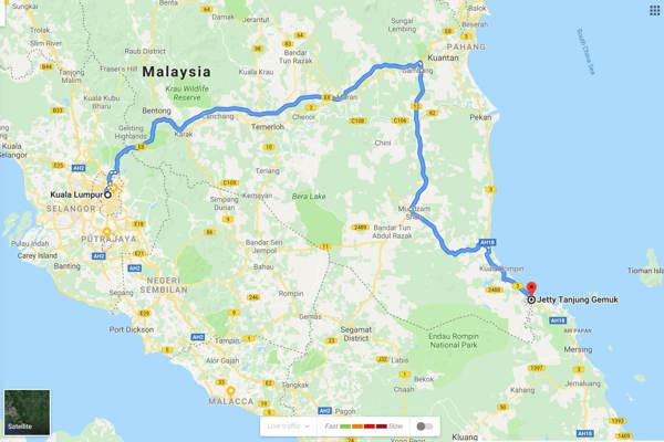 Kuala Lumpur To Tanjung Gemok Jetty - Route 1