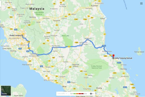 Kuala Lumpur To Tanjung Gemok Jetty - Route 2