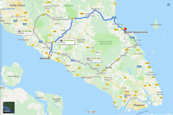 Malacca To Tanjung Gemok Jetty - Route 1