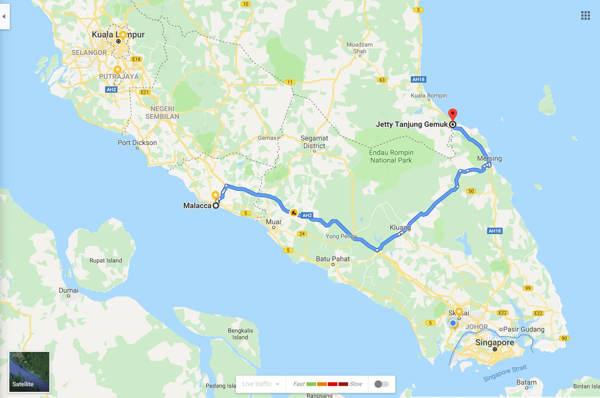 Malacca To Tanjung Gemok Jetty - Route 2