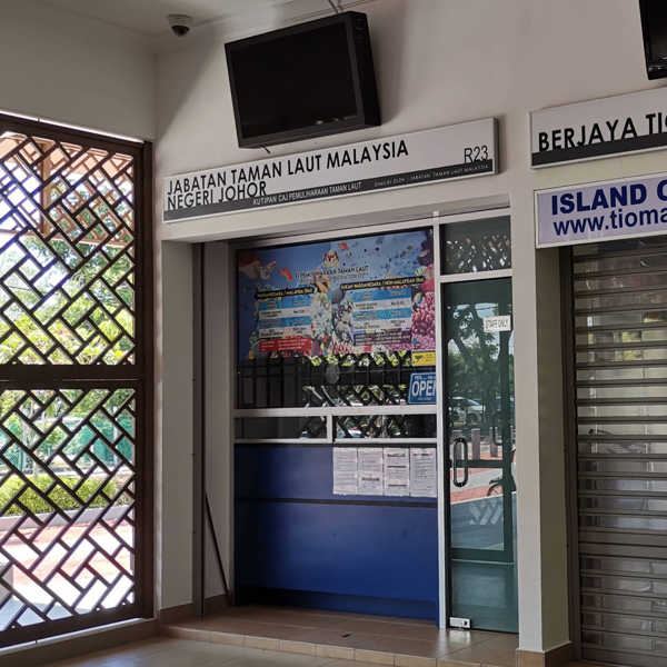 Marine Park Conservation Fee Counter at Mersing Jetty