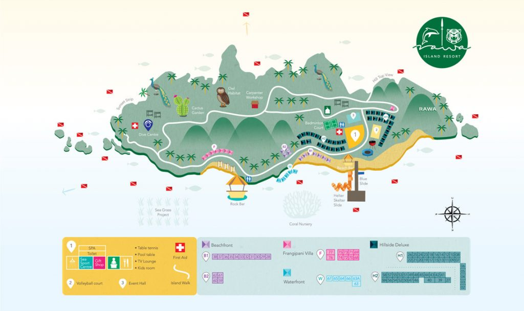 The Map of Rawa Island Resort Packages