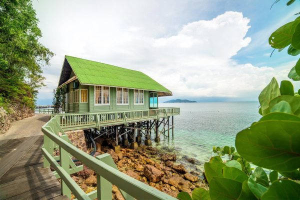 The Exterior of Waterfront Bungalow at Rawa Island Resort
