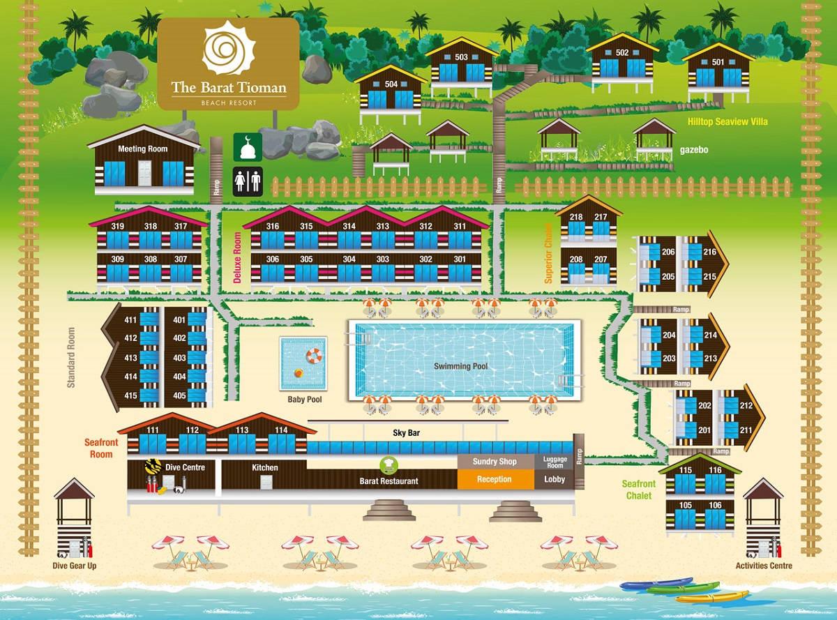 The Barat Tioman Beach Resort - Plan View