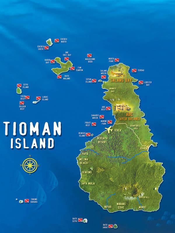 Tioman Island Malaysia Diving Map